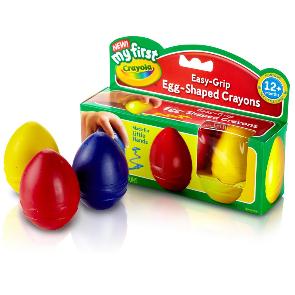 美國crayola 幼兒系列-幼兒可水洗3色蛋形蠟筆(1Y+)
