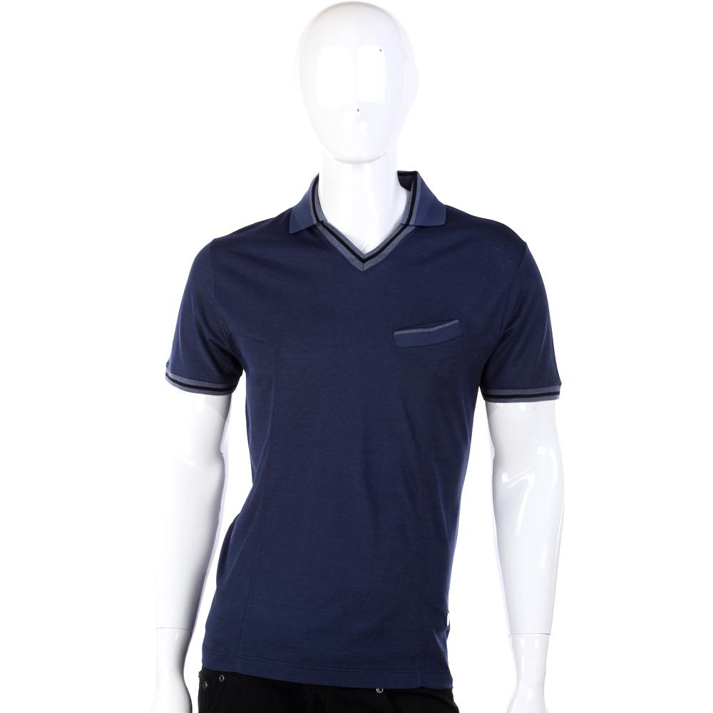 VERSACE 深藍色條紋飾邊有領設計短袖針織衫