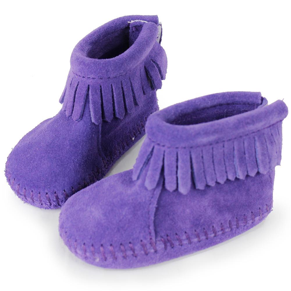 MINNETONKA 紫色後貼式麂皮莫卡辛 嬰兒短靴 (展示品)