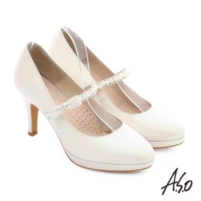 A.S.O 幸福華爾滋 金蔥布料背帶婚宴高跟鞋 白色