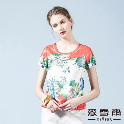 麥雪爾 花朵中國風短版上衣