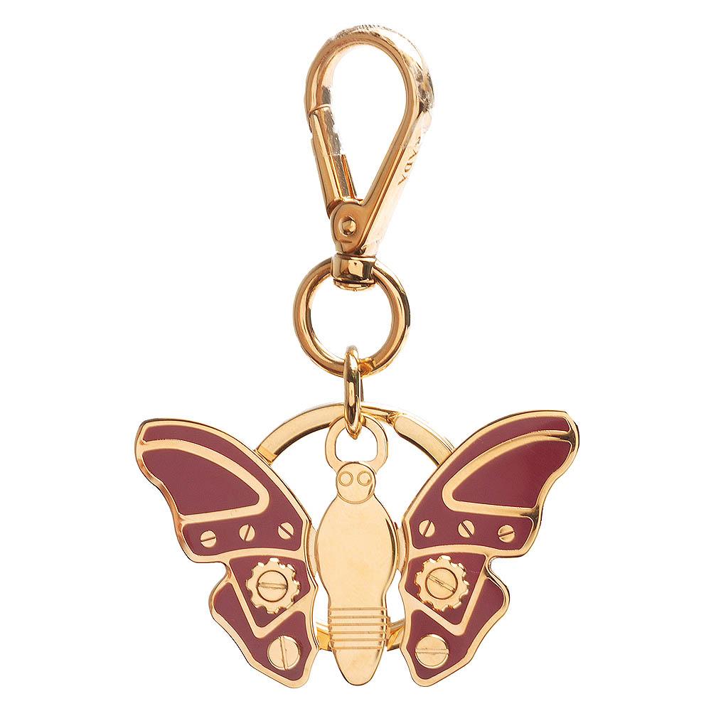 PRADA 經典TRICK METAL金屬機械蝴蝶造型吊牌鑰匙圈(蜜桃粉X金)PRADA