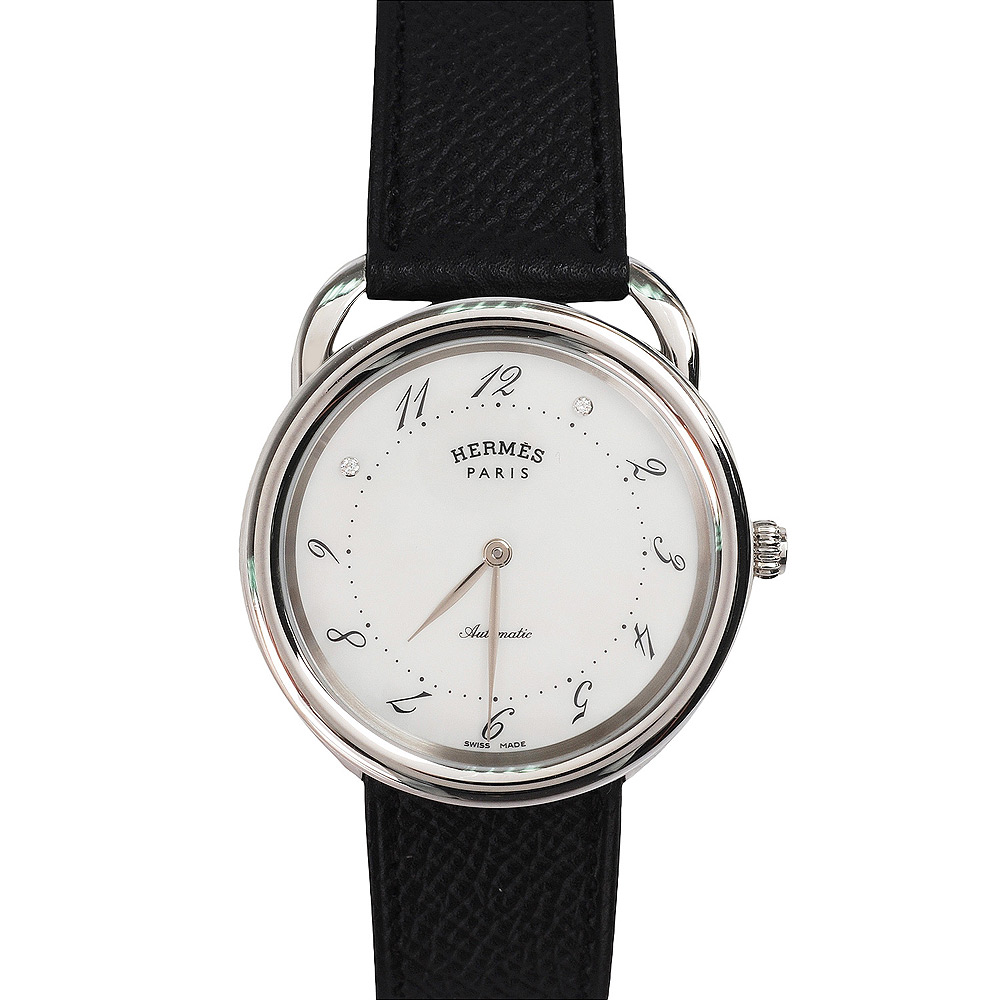 HERMES 限量101珍藏Arceau腕錶禮盒(黑-附Dada 18K白金墜飾項鍊)