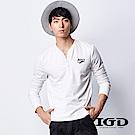 IGD英格麗 韓風經典棉質V領開襟長袖上衣-白色
