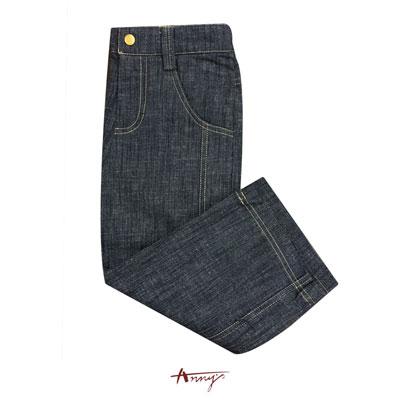 Anny帥氣高質深靛藍車邊設計牛仔褲*0497藍