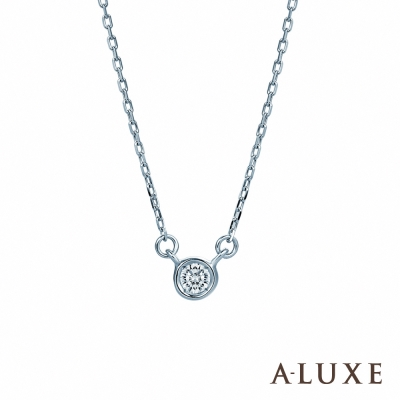 A-LUXE 亞立詩 Shine日系輕珠寶 白K金包鑲單顆美鑽項鍊