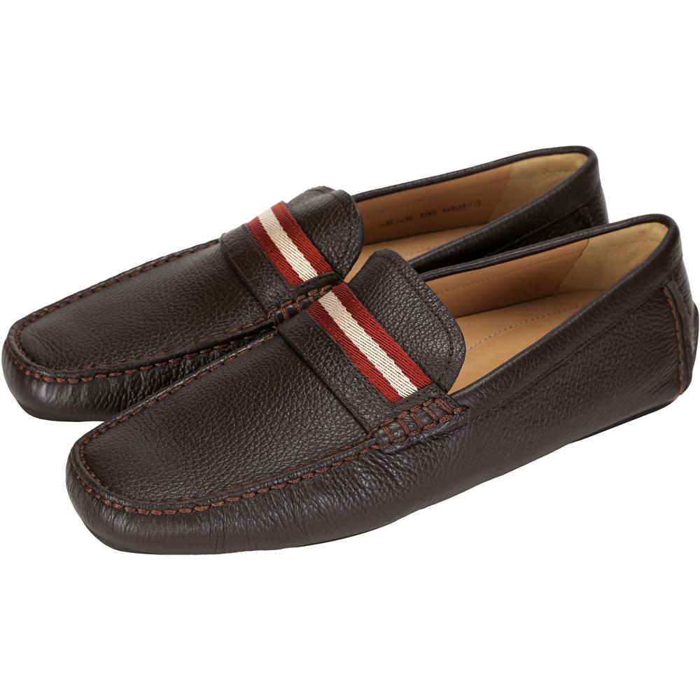 BALLY 經典織帶牛皮壓紋樂福鞋(咖啡色)