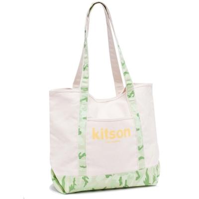 【kitson】 全台獨家 休閒渡假風帆布托特包(綠迷彩)