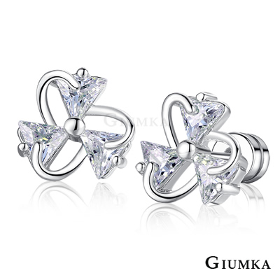 GIUMKA 絢麗花朵 栓扣式耳環-銀色A