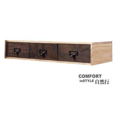 CiS自然行實木家具 收納盒-分類-大框M款+3抽屜(胡桃咖啡色)