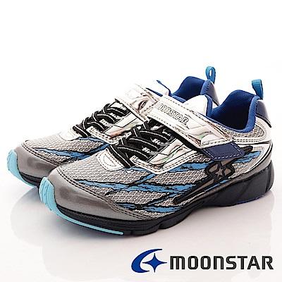 日本月星 頂級競速童鞋 勝戰獸系列機能運動鞋 EI231 銀 (中大童段)