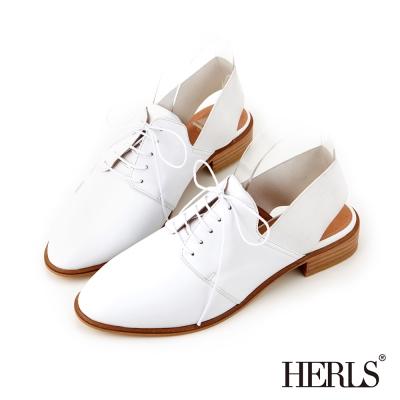 HERLS-全真皮 簡約時尚後簍空牛津涼鞋-白色