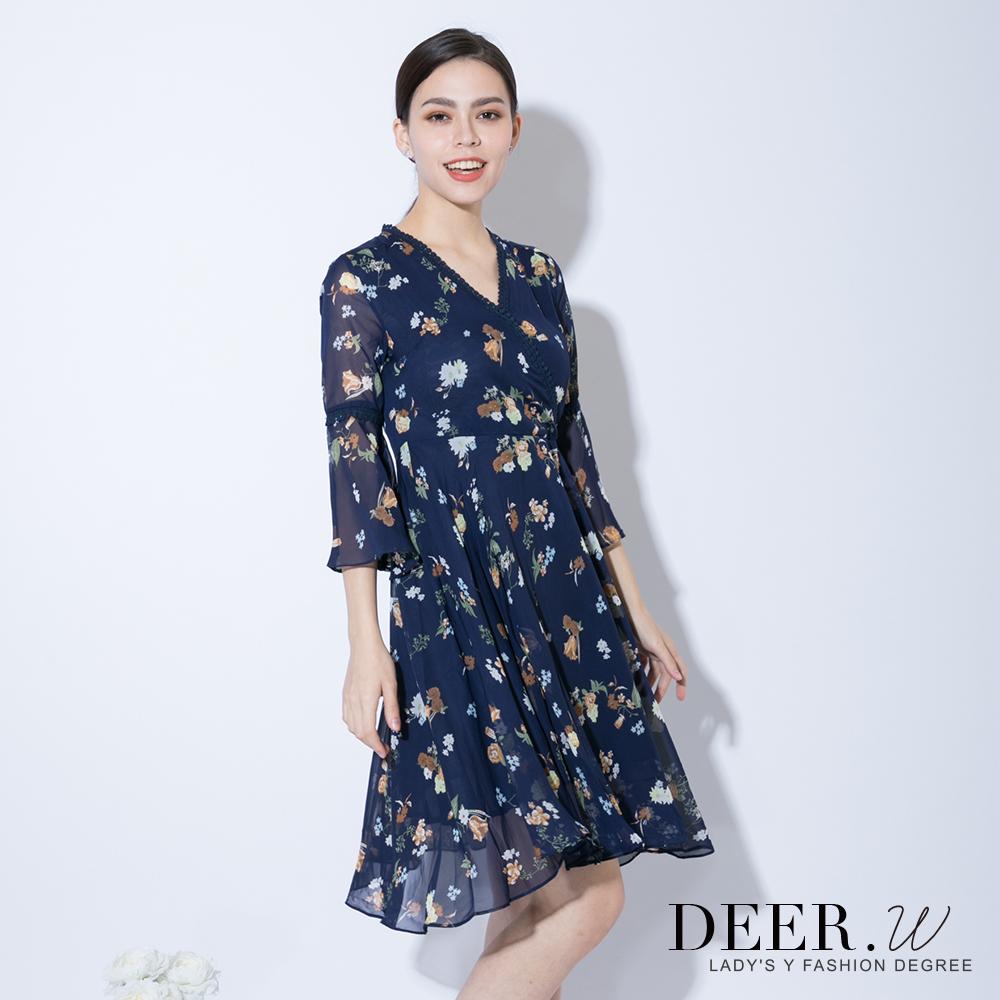 DEER.W 交衩緹花V領印花雪紡洋裝(藍色)