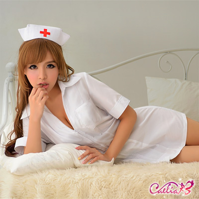 Caelia-白色連身二件式護士角色扮演服