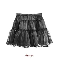 Anny高級緞紗鑽石蝴蝶結蓬蓬短裙*0208灰