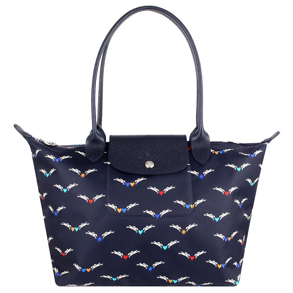 Longchamp 雙馬飛翔圖騰尼龍布長背帶水餃包(海軍藍/小)LONGCHAMP