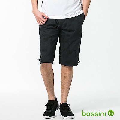 bossini男裝-速乾印花短褲01墨黑