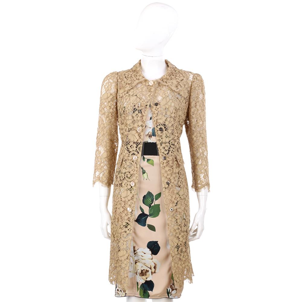 DOLCE & GABBANA 駝色蕾絲七分袖薄長版罩衫外套