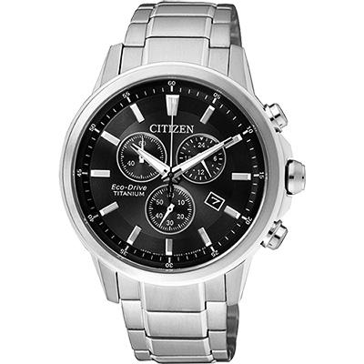 CITIZEN ECO-Drive 鈦金屬計時腕錶(AT2340-81E)-黑/42mm