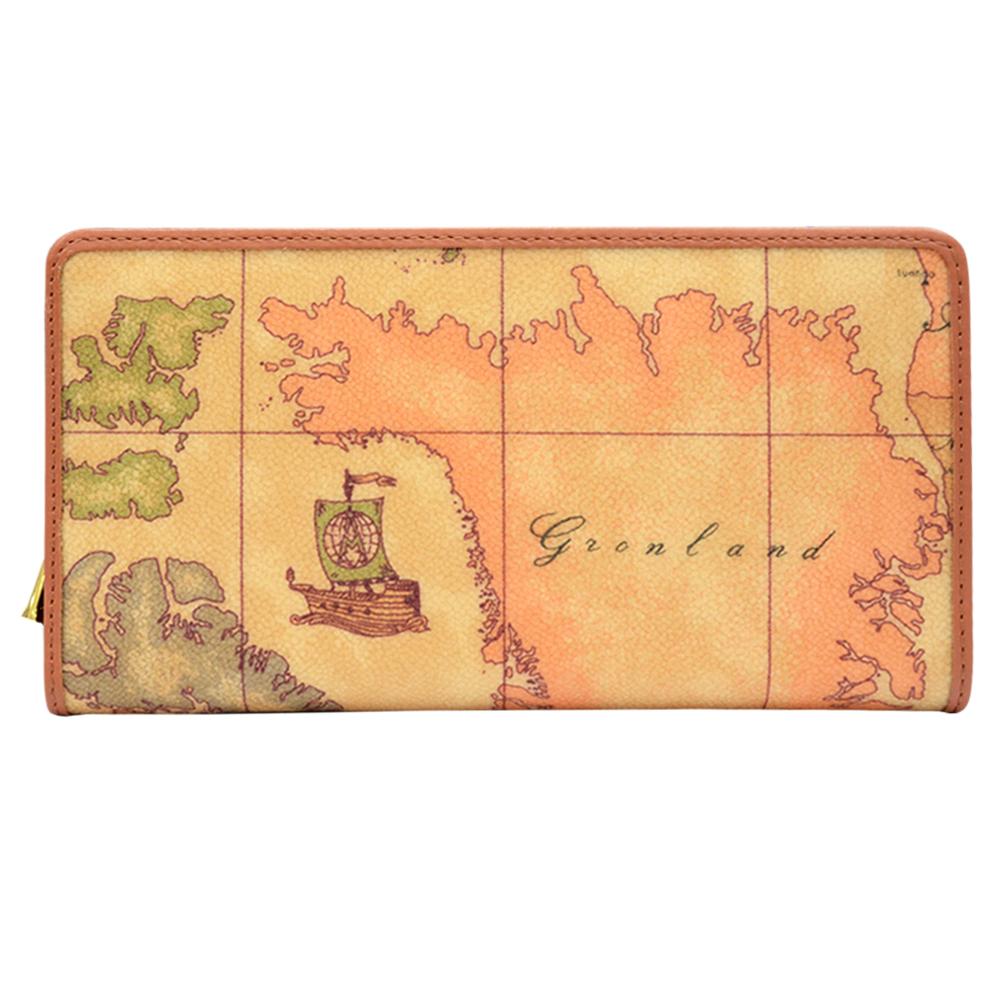 Alviero Martini 義大利地圖包 經典拉鍊9卡長夾-地圖黃