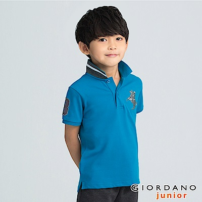 GIORDANO 童裝拿破崙刺繡短袖POLO衫-91 土耳其瓦藍