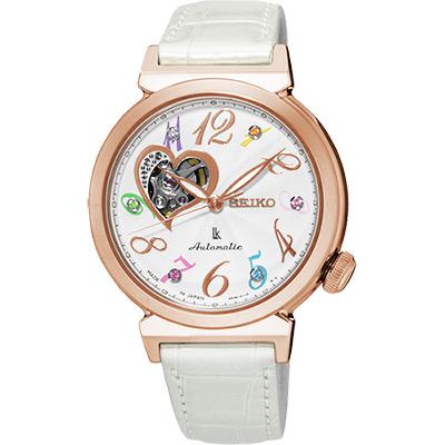 SEIKO LUKIA 愛戀開芯經典機械錶(SSA840J1)-銀x玫塊金框/34.6mm