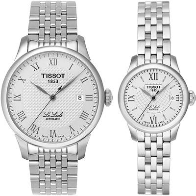 TISSOT Le Locle 力洛克系列 圖騰紋機械對錶-白