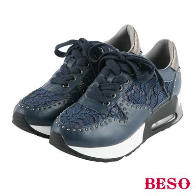 BESO潮流女孩 浪漫蕾絲牛皮拼接造型休閒鞋~藍