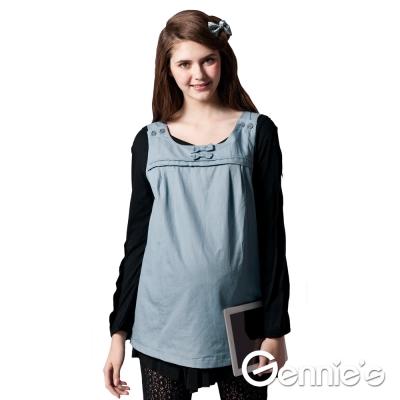 【Gennie's奇妮】防電磁波背心式工作服-產前/產後(GQ51)-水藍