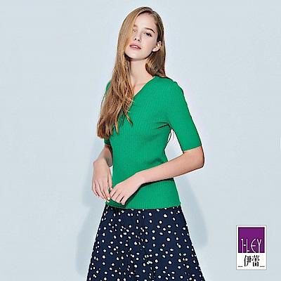 ILEY伊蕾 百搭條紋造型五分袖針織衣(粉/桔/綠/紅/磚/桃)