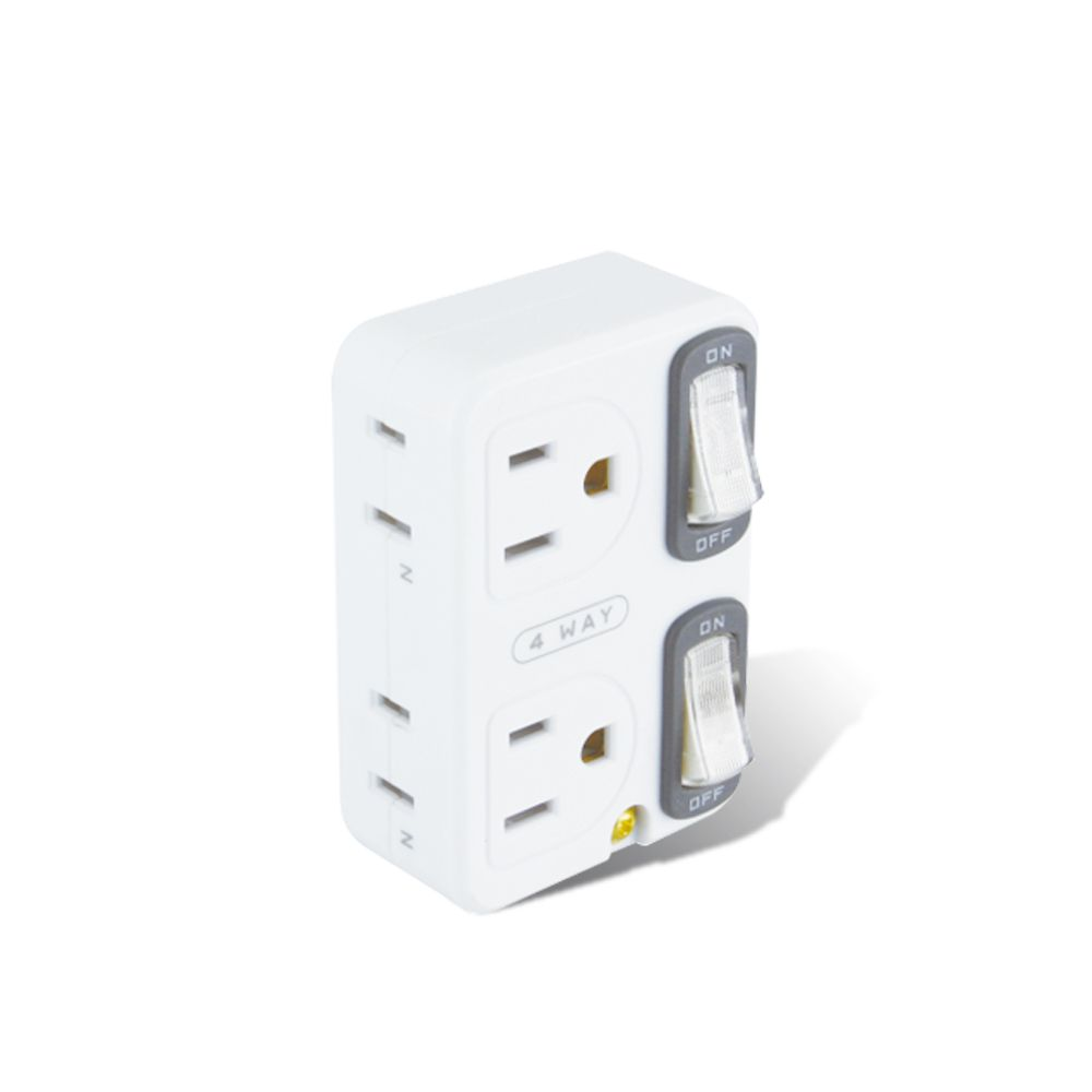 TNT-30S 節電2開4插分接器、壁插、多孔插座(2入)