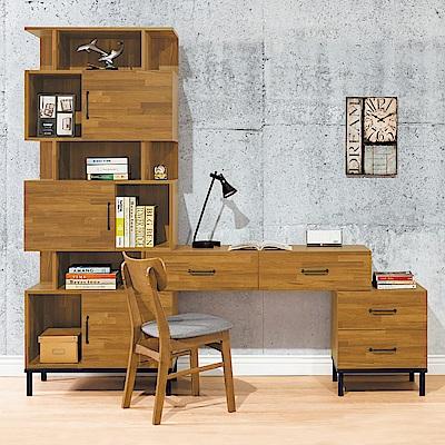 Bernice-庫瓦6.7尺工業風L型書櫃+書桌組合(不含椅)-200x40x196cm