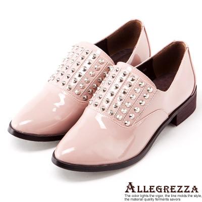 ALLEGREZZA-真皮-個性鉚釘漆皮便鞋-樂福