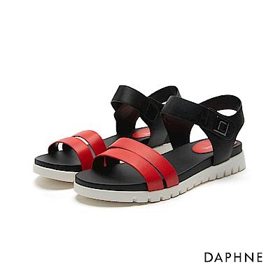達芙妮DAPHNE 涼鞋-鋸齒鞋底魔鬼氈雙一字平底涼鞋-紅