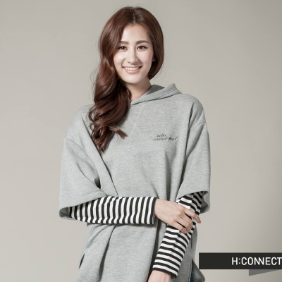 H-CONNECT-韓國品牌-女裝-條文接袖假兩件棉質上衣-灰