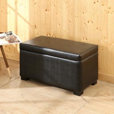 BuyJM黑鱷魚紋掀蓋收納椅/寬78x41x高44公分-免組裝