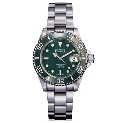 DAVOSA Ternos Ceramic 200米陶瓷框潛水腕錶-綠/40mm