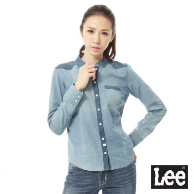 Lee 長袖襯衫 牛仔棉布拼接 -女款(淺藍)