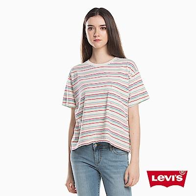 T恤 女裝 短袖純棉TEE 條紋相間 - Levis