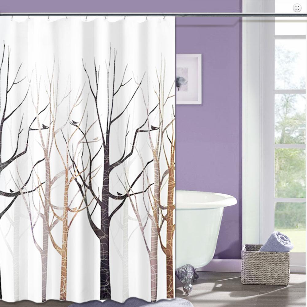 LISAN頂級加厚防水浴簾-B-012花映之旅 森林(棕色)