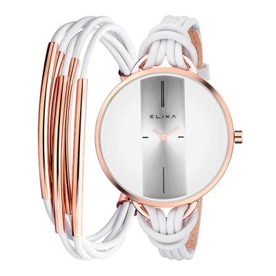 ELIXA Finesse精巧時間皮繩系列X手環組合 白x玫瑰金38mm