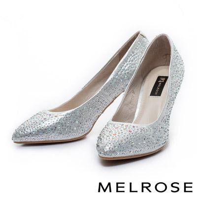 MELROSE-質感閃耀水鑽尖頭高跟鞋-銀