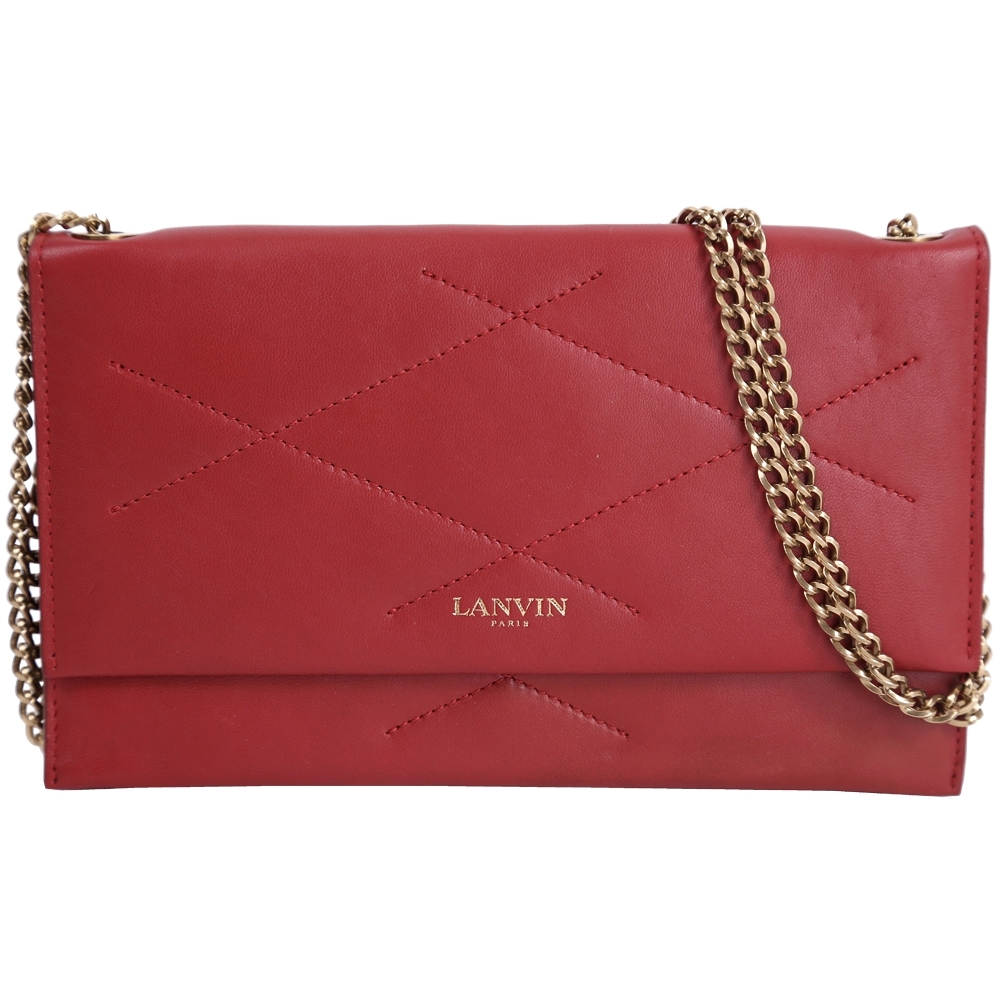 LANVIN Sugar 小羊皮菱格車縫設計鍊帶斜背包(紅色)