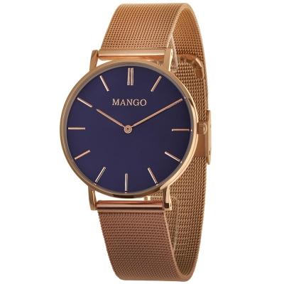 MANGO 極簡美學米蘭腕錶-深藍/36mm