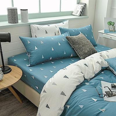 鴻宇HongYew 100%精梳棉 森林小樹 藍 單人床包枕套兩件組