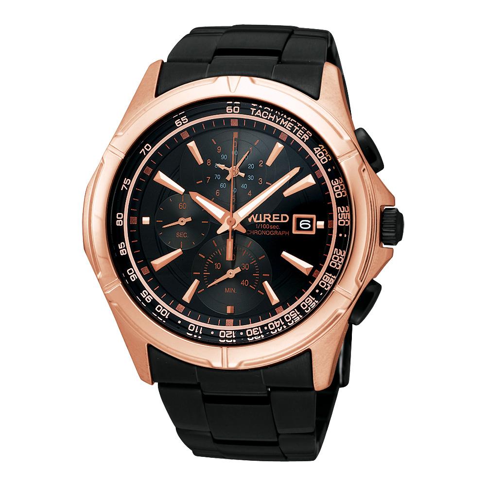 WIRED 極限玩家三眼計時腕錶(AQ8016X)-玫塊金/IP黑/40mm