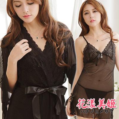 罩衫三件式 奢華網紗睡衣裙組 細肩帶深V水鑽吊墜 (黑) 花漾美姬