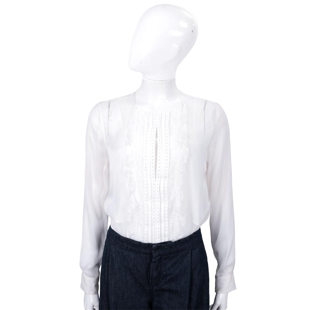 PINKO Bodysuit 白色雪紡蕾絲連身衣(附內襯)