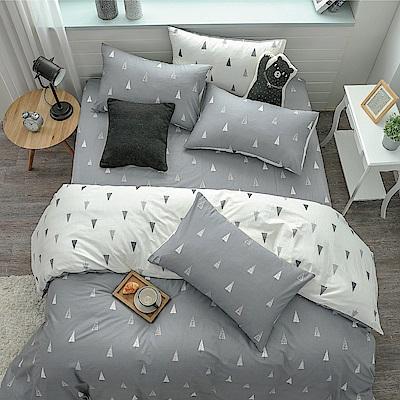 鴻宇HongYew 100%精梳棉  森林小樹 灰 雙人床包枕套三件組