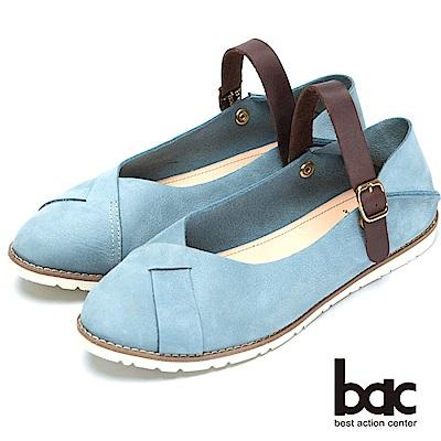 bac經典兩用-舒適真皮後踩平底鞋淺藍色